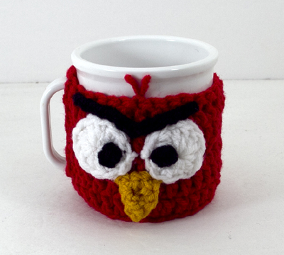Red Mad Bird Mug Cozy