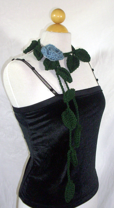 Leafy Green Scarf / Lariat with Rose Pin