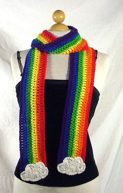 Rainbow and Clouds Scarf