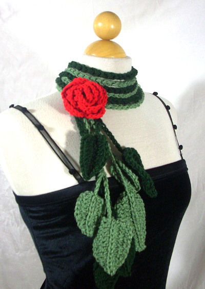 Two Vine Scarf / Lariat with Rose Pin